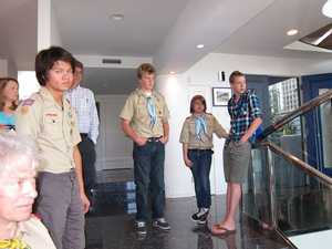 Scouts on the steps