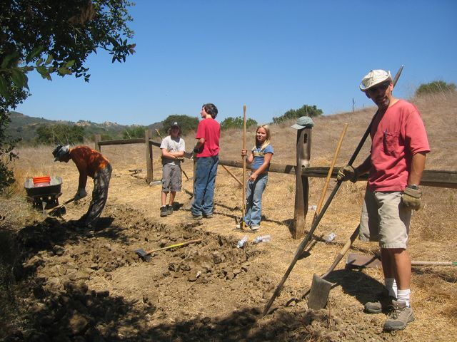 Widening the trail - setting the posts