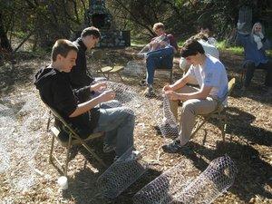 Chicken wire basket weaving