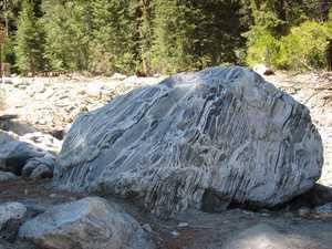 Striated boulder