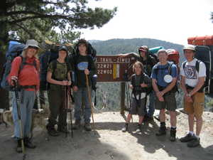 Diana, Neil, Rasmus, Lucas, Walter, Tom, Mike - at the trail head on Cerro Noroeste. Time to hit the trail!