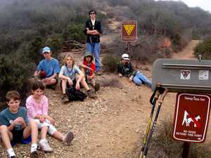 The crew assembles for a 10-mile day hike in their backyard, the Santa Monica Mountains